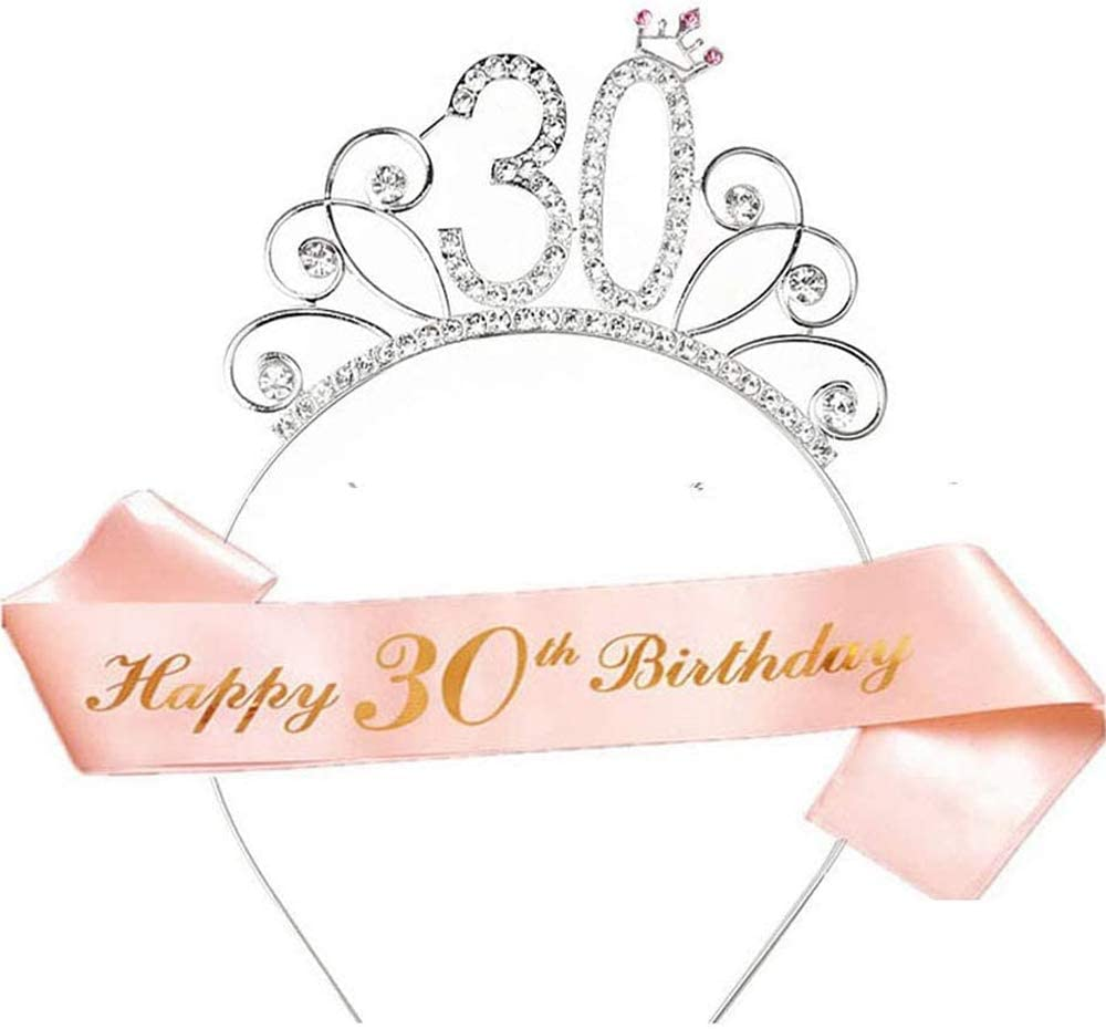 Silver Metal Rhinestone Happy 30th Birthday Tiara Headband Girls Outfit