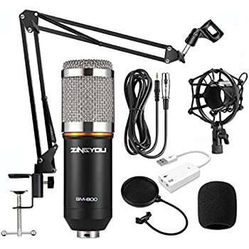 ZINGYOU Condenser Microphone Kit, BM-800 Mic Set with Adjustable Mic Suspension Scissor Arm, Metal Shock Mount and Double-layer Pop Filter for Studio Recording & Brocasting (Microphone Bundle)