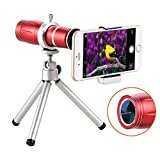 COOCHEER Phone Camera Lens,12X Zoom Optical Camera Telephoto Telescope Lens With Tripod Base for Iphone,Samsung,HuaWei,Xiaomi,Nokia and other smartphones (Red)