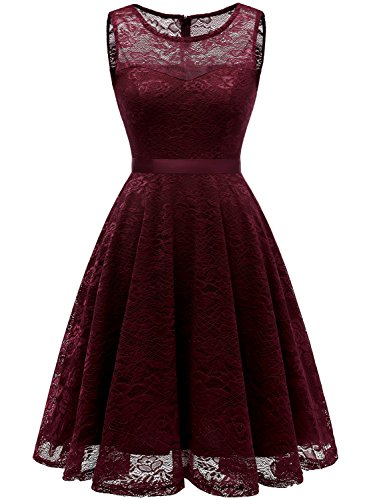 Informal Bridesmaid Dresses (IVNIS RS90050 Women's Vintage Floral Lace Dress Short Bridesmaid Dresses Scoop-Neck Cocktail Party Dress Burgundy L)