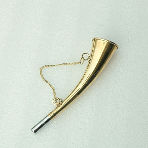 Ectoria (Signal Horn) - Medieval Pistol Shaped Brass Flat Calling Bugle 16cm with Slingle Chain