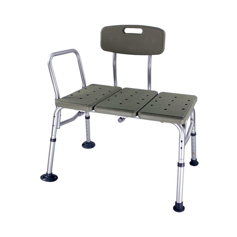 OvMax Bath Chair, Adjustable Handicap Shower Chair Seat Bench Transfer Bench with Arms and Backs, 3 Blow Molding Plates Aluminium Alloy for Seniors Elderly Baby Bathtub Lift Chair-Gray C02
