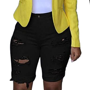 f0b805cd8b592 Rambling Fashion Womens Distressed Denim Capri Shorts High Waisted Ripped  Destroyed Bermuda Jeans