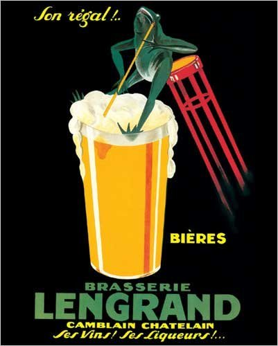 Brasserie Lengrand By G Piana Beer Frog Vintage Advertising Poster Print 16x20quot