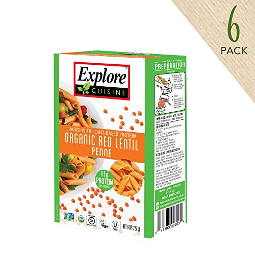 Explore Cuisine Organic Red Lentil Penne (6 Pack) - 8 oz - High Protein, Gluten Free Pasta, Easy to Make - USDA Certified Organic, Vegan, Kosher, Non GMO - 24 -