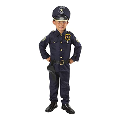 MONIKA FASHION WORLD Police Officer Costume Set for Kids Light up Badge on Shoulder T S M 3 4 5 6 7 'M 5-7': Clothing