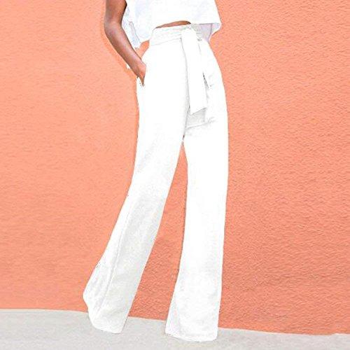 Pantaloni Dritti Moda Modern Bianca Tasche A Eleganti Primaverile Baggy Semplice Cintura Alta Larghi Farfalla Cravatta Vita Inclusa Anteriori Glamorous Lunga rwg4qWrUTH