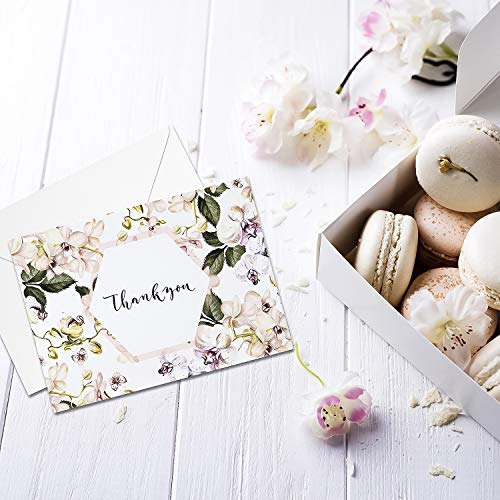 Thank You Cards: Vintage Floral Bulk Set of Blank Note Cards for Wedding, Bridal or Baby Shower, Teacher, Birthday Card, Business Notes and More - Assorted Pack with Envelopes and Cute Stickers Inside Photo #4