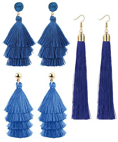 LOLIAS 3 Pairs Long Thread Tassel Earrings Set for Women Girls Boho Fringe Tassel Earrings Set,Navy Blue