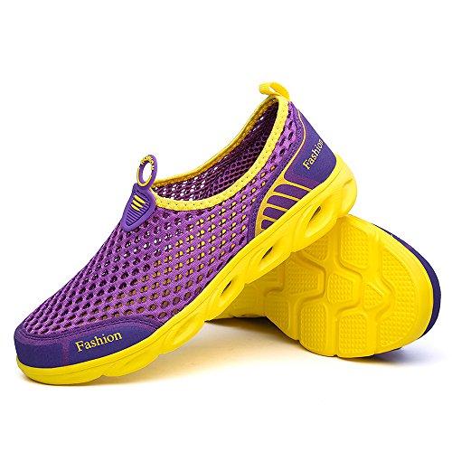 VILOCY Männer Frauen Breathable Quick Dry Wasser Aqua Schuhe Outdoor Mesh Sportschuhe Walking Sneaker Lila