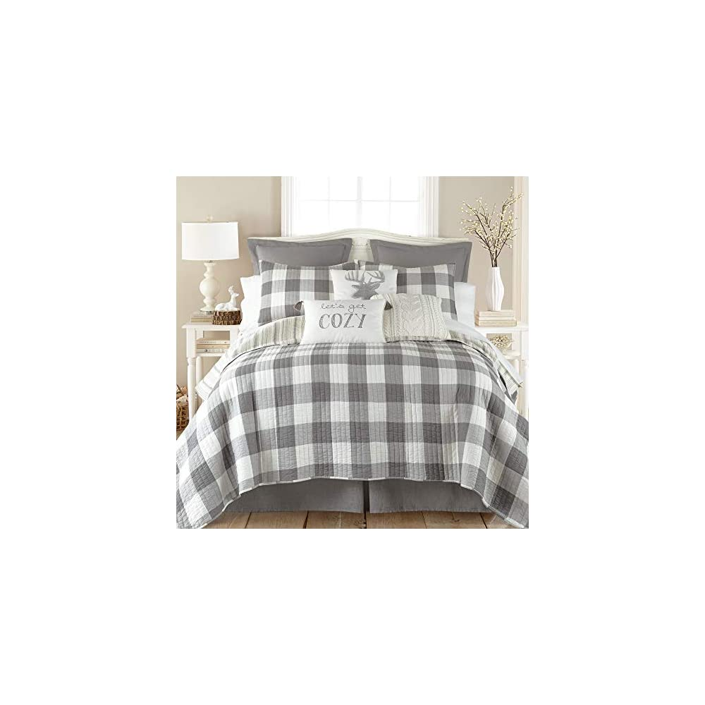 Levtex Home - Camden Quilt Set -King Quilt + Two King Pillow Shams - Buffalo Check in Grey and Cream - Quilt Size (106 x…