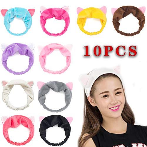 10pcs Elastic Cat Ear Headbands, Headband for Women Wash Face Makeup Running Sport Spa Party