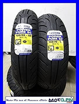 Par gomas Michelin Power PURE SC 120/80 - 14 150/70 - 13 Yamaha YP Majesty 400: Amazon.es: Coche y moto