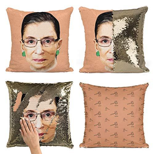 Bad Bananas Ruth Bader Ginsburg (Notorious RBG) - Mermaid Reversible Flip Sequin Throw Pillowcase - Funny Gag Gift Pillow Cover