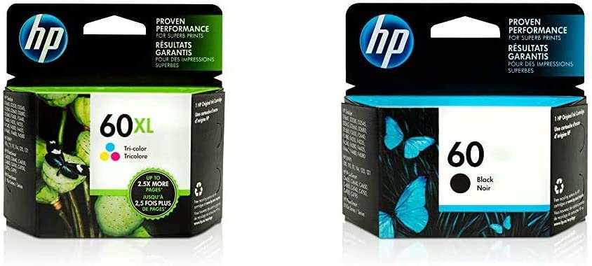 HP 60XL | Ink Cartridge | Tri-Color | CC644WN & 60 | Ink Cartridge | Black | CC640WN