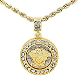 Gold-Tone Iced Out Hip Hop Bling Greek Goddess Head Medallion with 24'' Solid Rope Chain