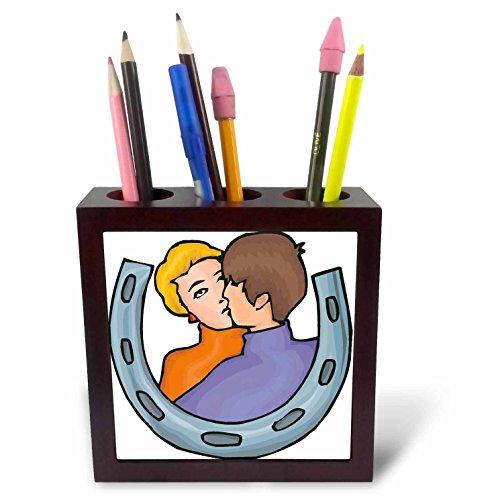 3dRose TDSwhite – Horse Equine Illustrations - Kissing Couple Lucky Horseshoe - 5 inch Tile Pen Holder (ph_285595_1)