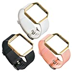 UCAI 3 PCS TPU Fitbit Blaze Bands Replacement Accessory,Large&Small Bands for Fitbit Blaze Smart Watch (No Tracker or Frame)(Black&White&Pink, Large)