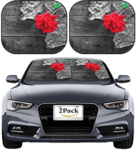 (MSD Car Sun Shade Windshield Sunshade Universal Fit 2 Pack, Block Sun Glare, UV and Heat, Protect Car Interior, Image ID: 34540422 Red Rose and Foliage on Rustic Wooden Table)