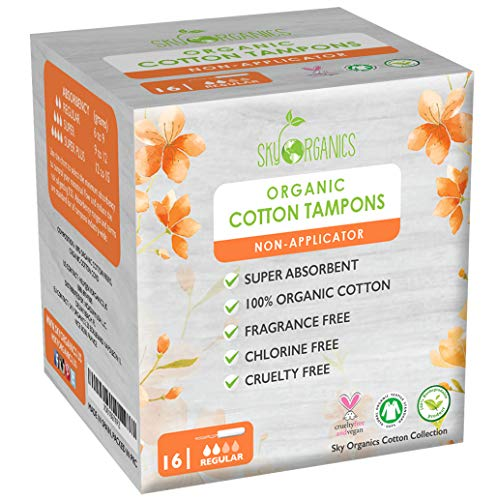 Organic Cotton Non-Applicator Tampons (Regular Absorbency) by Sky Organics- Chemical & Plastic-Free, Vegan & Cruelty-Free, Biodegradable Plant Based Feminine Care, Natural Digital Tampons (16 ct)