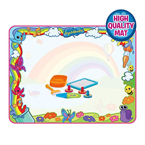 AquaDoodle E72772 Super Rainbow Deluxe Large Water Doodle Mat, Official Tomy No Mess Colouring & Drawing Game, Suitable for Toddlers and Children from 18 Months