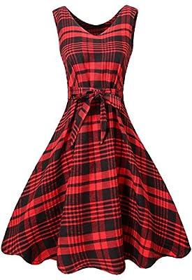 MIEDEON Womens Casual Plaid Stripe Mini Swing Shirt Dress