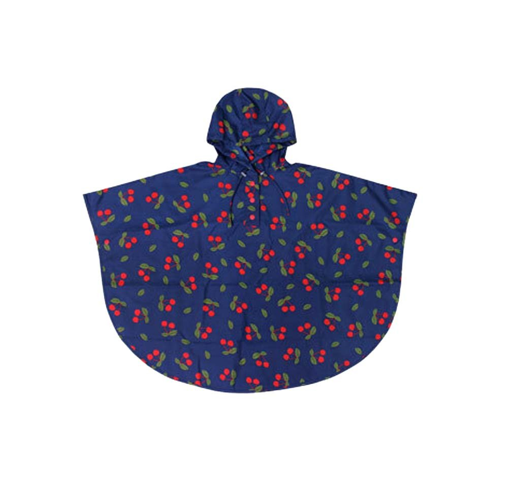 QZUnique Kids' Lightweight Outdoor Ripstop Waterproof Packable Rain Jacket Poncho Cheeries Raincoat with Hood Blue US M