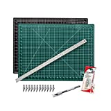 "Cutting Mat with Craft Knife & Ruler Set - Professional 12X9 Self Healing Double Sided Rotary Mat Precision Hobby Knife with 12 Easy Replacement Blades and 12"" Steel Corked Backed Ruler"