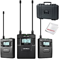 COMICA CVM-WM300(A/C) UHF 96-Channels Metal Wireless Microphone with Dual Transmitters and One Receiver 120m Smooth Recording Without Staccato for DSLR & Camcorder Video