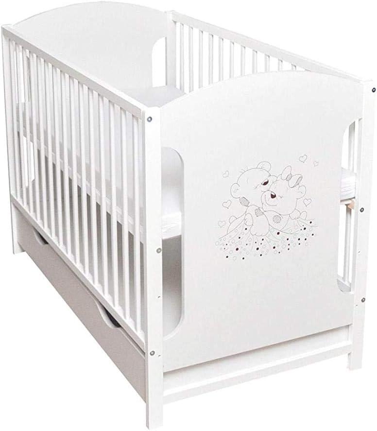 Pino blanco s/ólido simplicidad moderna cuna//cuna 120x60cm3 veces la altura regulable,White