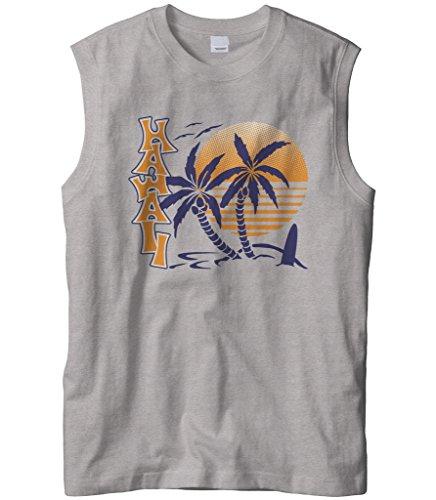Cybertela Mens Hawaii Hawaiian Hi Sunrise Palm Tree Sleeveless T-Shirt