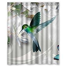 Hummingbird Flying Around Flowers 60(w)x72(h)Inch Bathroom Waterproof Shower Curtain Bath Curtains