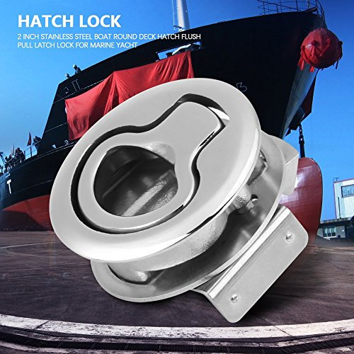 Hoffen Round Deck Hatch Flush Pull Latch Turning Lock 2 Inch Lift Handle,Boat 316 Stainless Steel