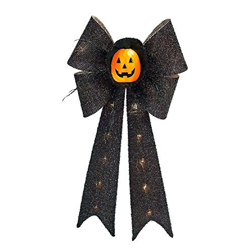 Halloween Hanging Wall / Door Decoration Lighted 26 in. Battery-Operated LED Tinsel Black Bow with Orange Pumpkin Face by Home Accents Holiday