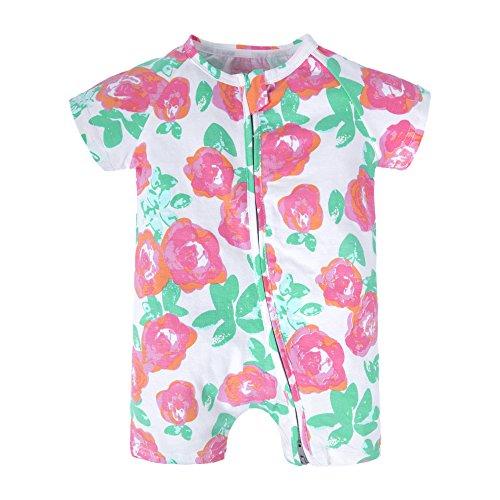 rls'1 Piece Summer Short Sleeve Pajama Graphic Zipper Romper Flower A T96-66 3-6 Months (Footless One Piece)