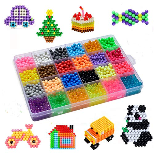 (Cyiecw Fuse Beads, 24 Colors Water Spray Beads Set 3000 Beads Refill Compatible with Beados Art Crafts Toys Fuse Beads for Kids Beginners Complete Set)