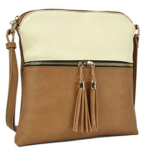 Dasein Lightweight Medium Crossbody Bag Vegan Leather Shoulder Bag Small Travel Purse with - Two Tone Tassel