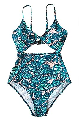 CUPSHE Women's Lush Leaves Print Cut Out Design One-Piece Swimsuit