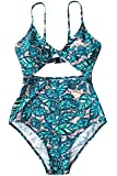 CUPSHE Women's Lush Leaves Print Back Hook Closure Cut Out at Length One-Piece Swimsuit Beach Swimwear Bathing Suit