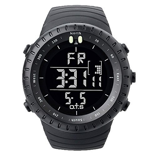 OTS Men Multifunctional Sports Digital Electronic Wrist Watch, LED Screen Watch and Waterproof Casual Luminous Stopwatch Alarm Watch by OTS