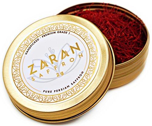 Zaran Saffron, (2 grams) Premium, All-Red Saffron (Highest Quality Saffron for your Tea, Paella, Risotto, and Persian Rice) Category 1, Super Negin Saffron threads