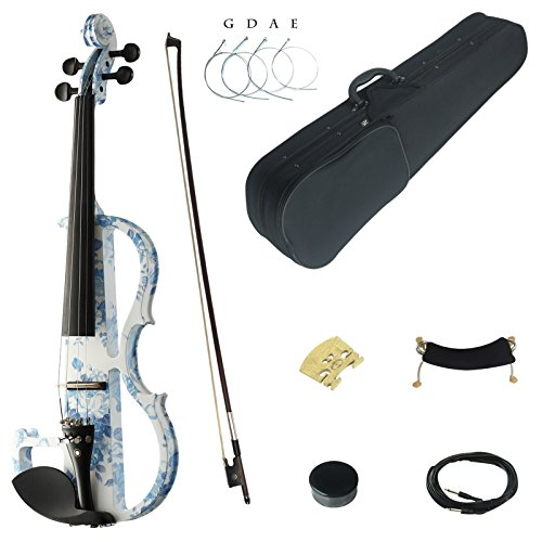 Kinglos 4/4 White Blue Flowers Colored Solid Wood Advanced Electric / Silent Violin Kit with Ebony Fittings Full Size (DSG1201)