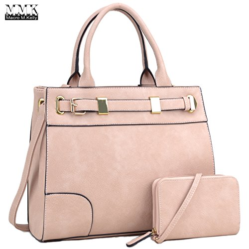 MMK collection Fashion Handbag with Extra coin purse~Classic Women Purse for Women~Signature fashion Designer Purse ~Perfect Women Satchel handbags(11-7045) (MA-FN-06-6716-PK)