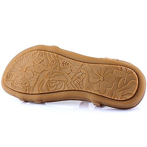Women Haizhen Slippers uk4 color 4 5 Black dress Outdoor casual Sandals Women's Flat Heel Beige Size cn37 Eu37 Shoes For Black F5pnrwdqp