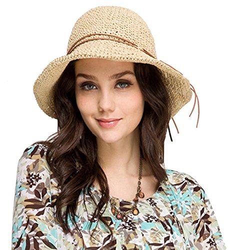 Urbancoco Damen klappbare Kappe flexible Sommer Strand Sonne Hüte (beige)
