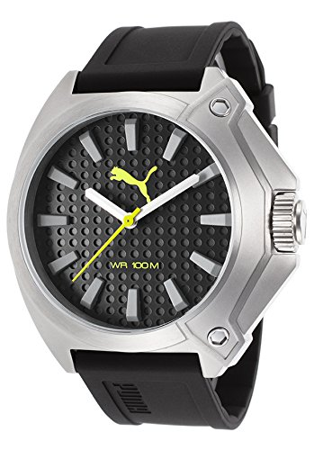 Puma Pu103811003 Men's Black Rubber And Dial Lime Green Accents Watch