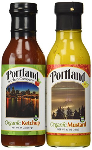 Organic Natural Ketchup and Mustard Set: Portland (Ketchup 14oz/Mustard 13oz) Gluten-Free Organic ingredients Vegan No-GMOs Organic Vegan Mustard