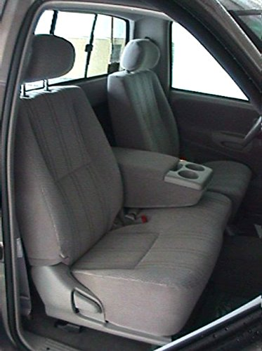 Durafit Seat Covers T787 L7-W8 2000-2004 Toyota Tundra Front 40/60 Split Seats with Fold Down Console. Silver Leatherette with Graphite Velour Inserts