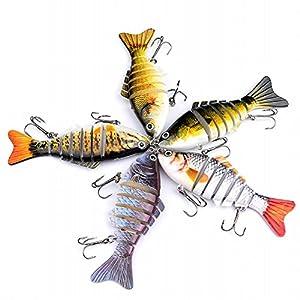 Smartcoco 10cm/15.5g Fishing Wobblers Artificial Fishing Lure Bait 3D Eyes 6 Segments Fish Lures 2 Hooks 6# Fishing Tackle