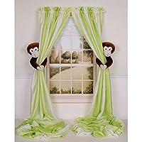 Curtain Critters ALCHMY150909SET Plush Safari Chocolate Monkey Curtain Tiebac...